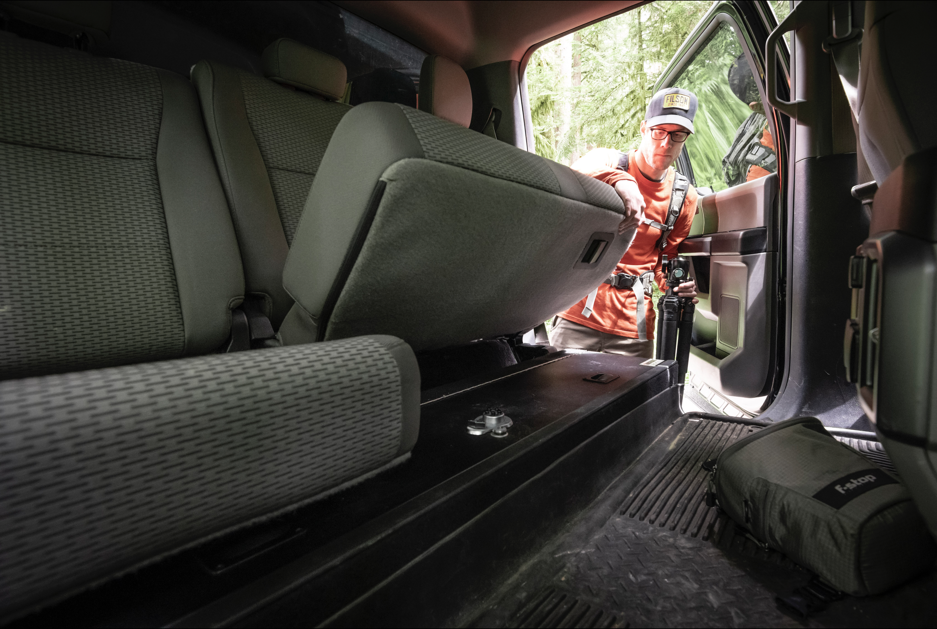 SeatVault TruckVault in the cab of a 2017 Ford F150.