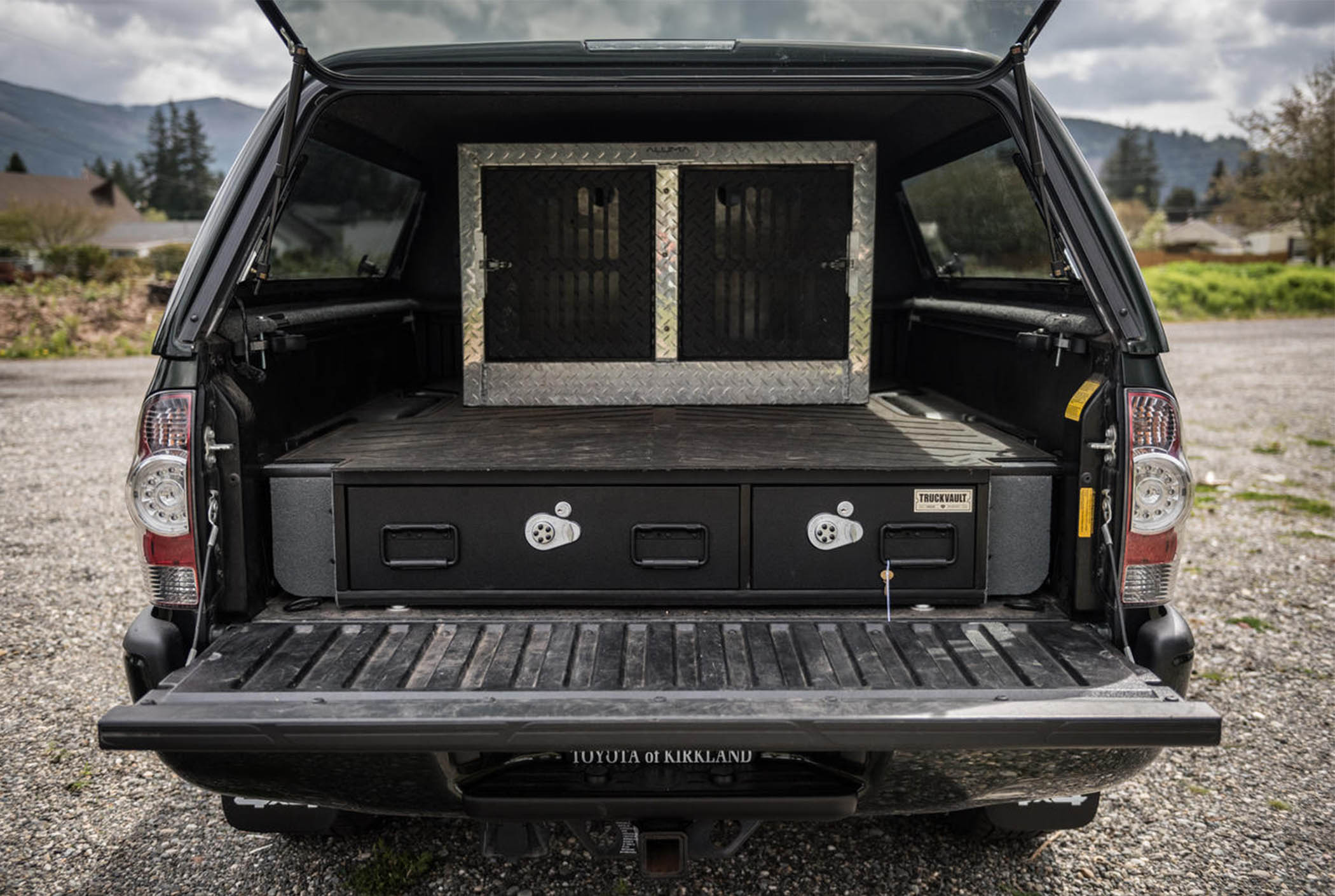 A covered bed TruckVault system for secure bird hunting storage.