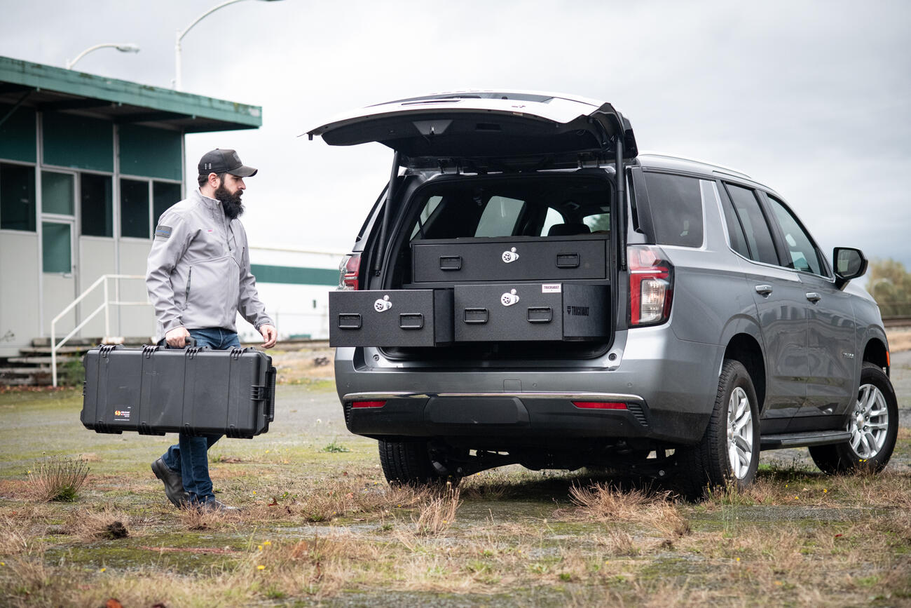 2021 Chevy Tahoe with an Investigator TruckVault secure storage system.
