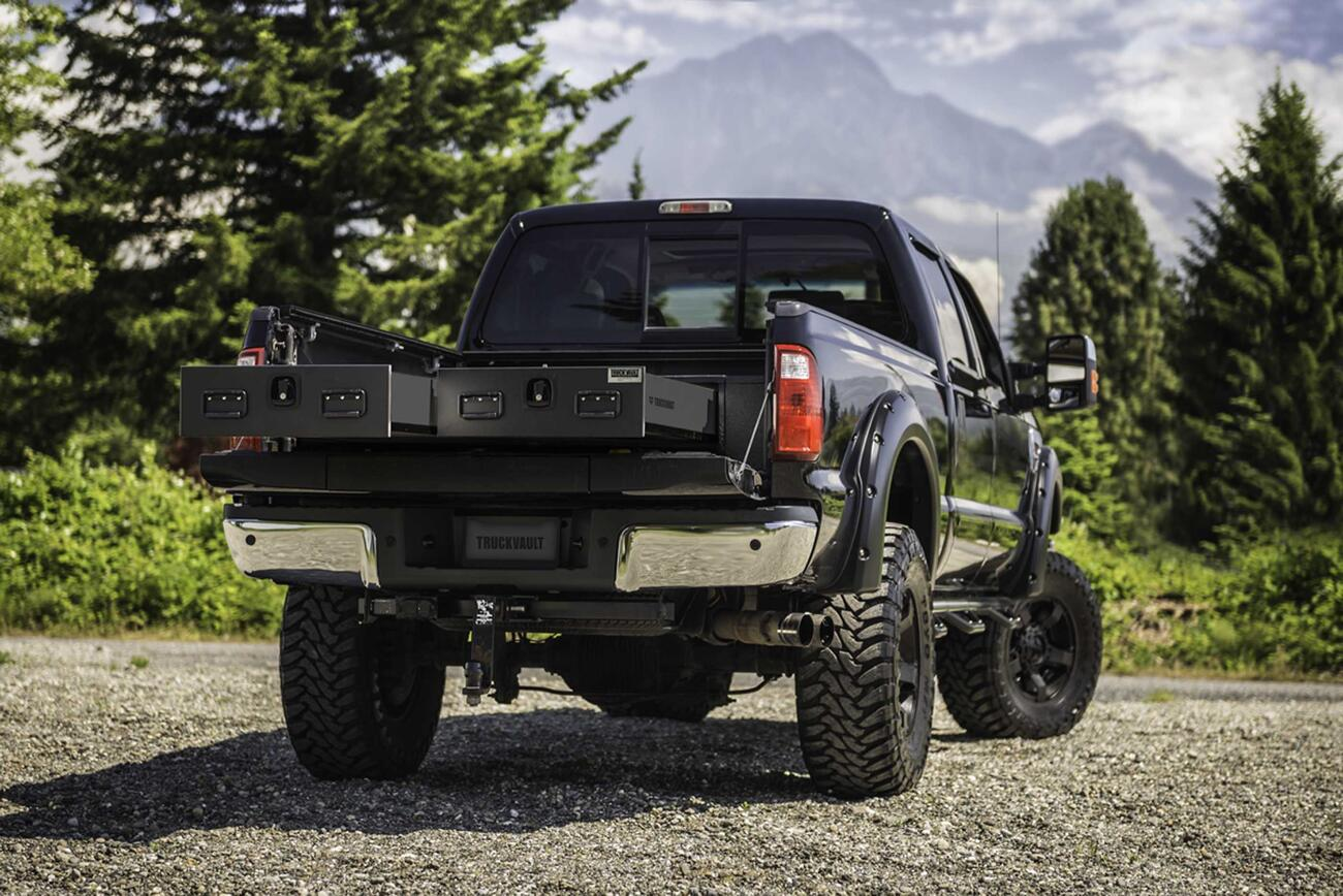 A Ford F-350 with a standard 2 drawer All-Weather TruckVault.