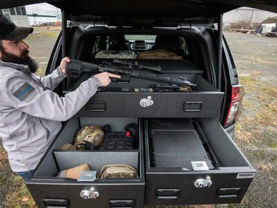 2021 Chevy Tahoe secure weapon storage in a TruckVault drawer system.