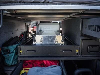 A custom TruckVault drawer in a Mercedes Sprinter.