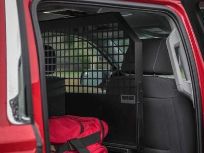 A custom TruckVault in the back of a fire department Chevy Suburban.